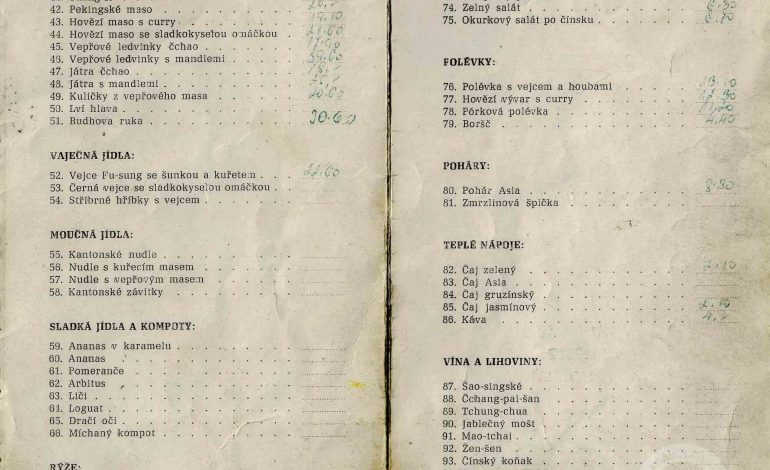 RESTAURACE ASIE menu 1973