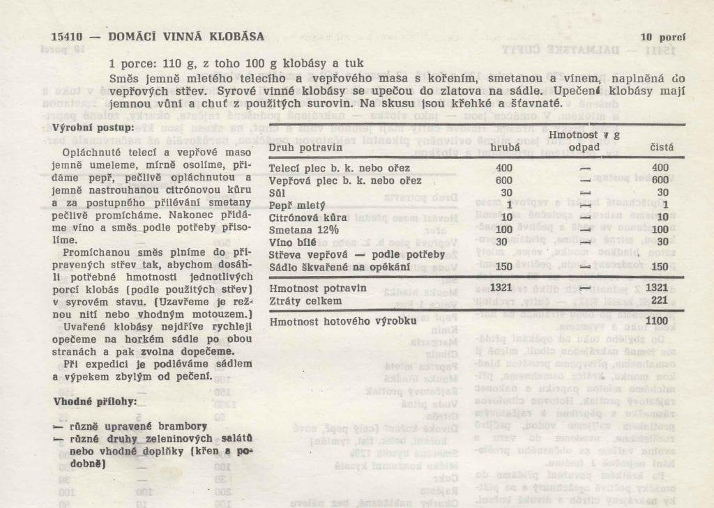 Vinné klobásy Receptura 1979