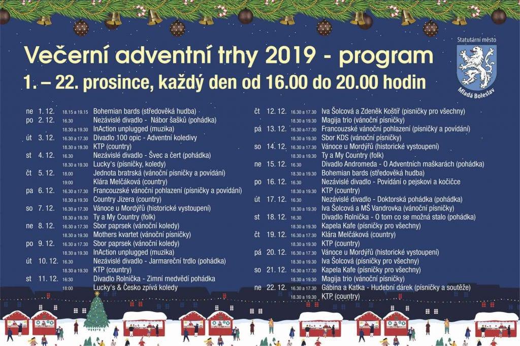 Program Večerních adventních trhů v Mladé Boleslavi 2019