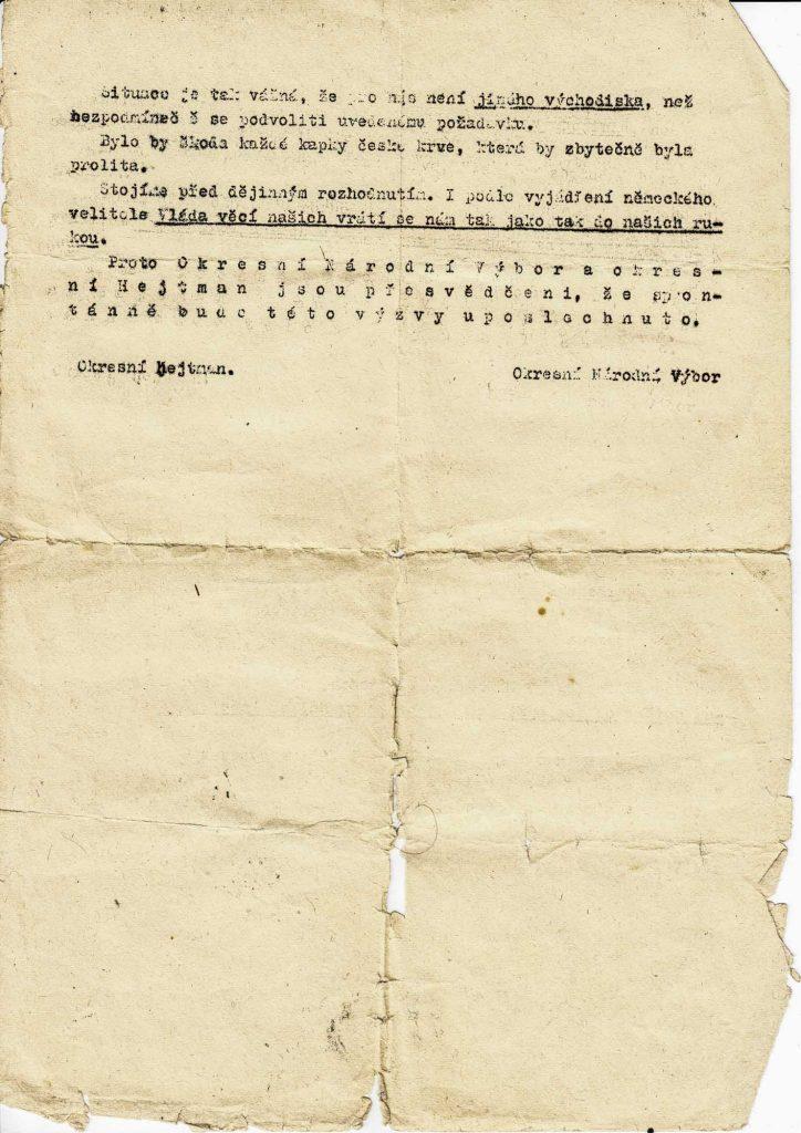 Bombardování Mladé Boleslavi 1945 Německá výzva