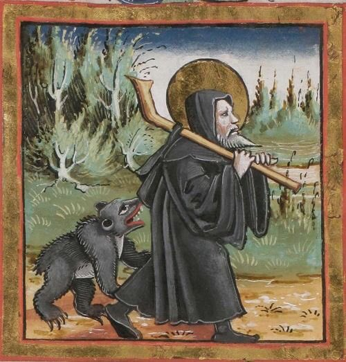 Svatý Havel s medvědem na dobovém vyobrazení.