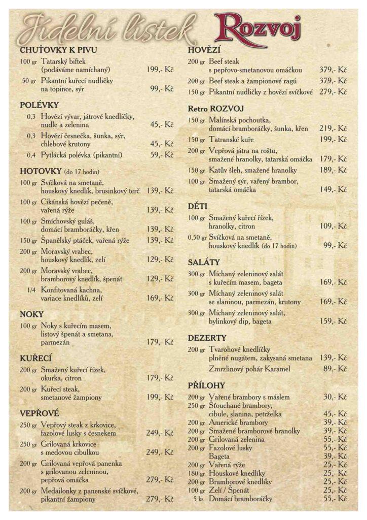 Restaurace Rozvoj v Mladé Boleslavi menu