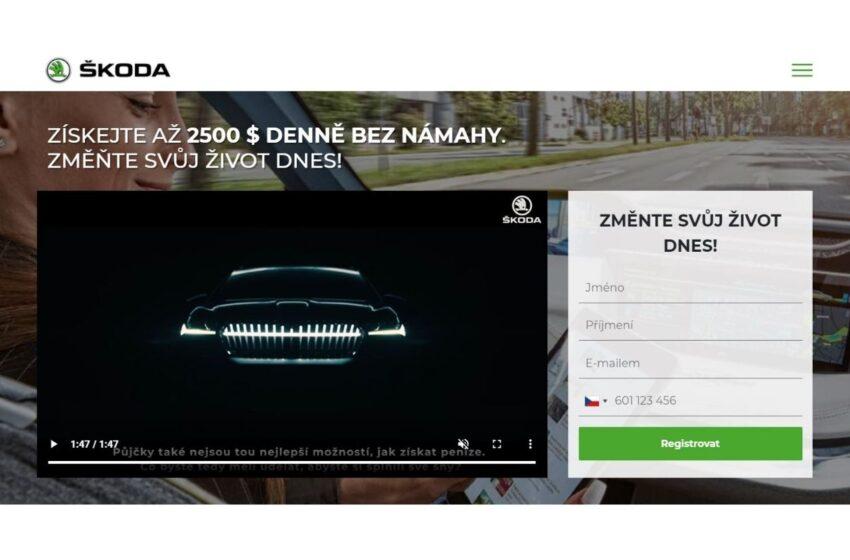 Škoda Auto varuje před webem, který láká na investice