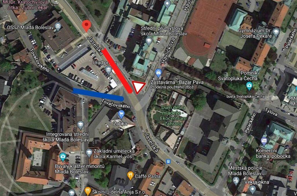 Křižovatka Jaselská, Havlíčkova, Tovačovského v Mladé Boleslavi