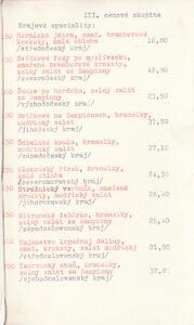 Jídelní lístek Vinárna U věže Mladá Boleslav rok 1986